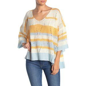 NEW TOV Striped Knit 3/4 Sleeve Sweater Ivory 38
